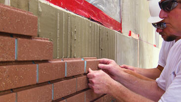 Brick Veneer Installation with Adhesive